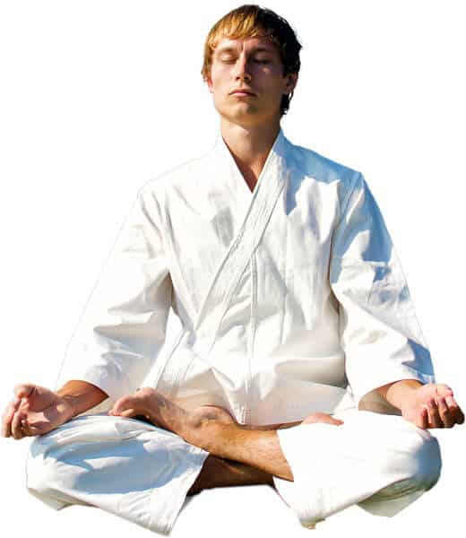 Martial Arts Lessons for Adults in Vista CA - Young Man Thinking and Meditating in White
