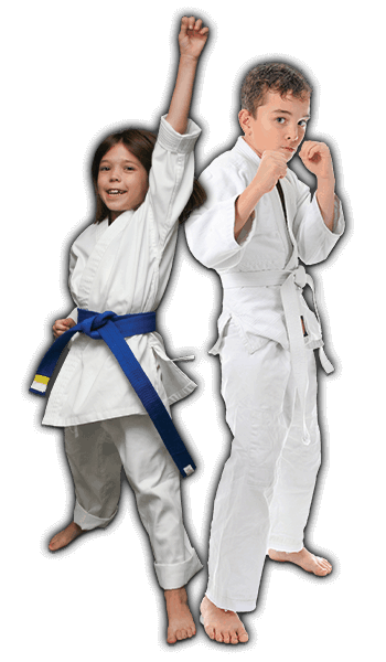 Martial Arts Lessons for Kids in Vista CA - Happy Blue Belt Girl and Focused Boy Banner